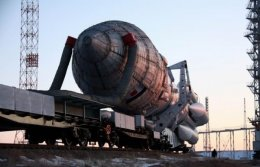 RUSSIA'S PROTON-M ROCKET WITH EUROPEAN SATELLITE INSTALLED ON BAIKONUR LAUNCH PAD